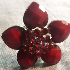 Ring vintage ruby Swarovski flower